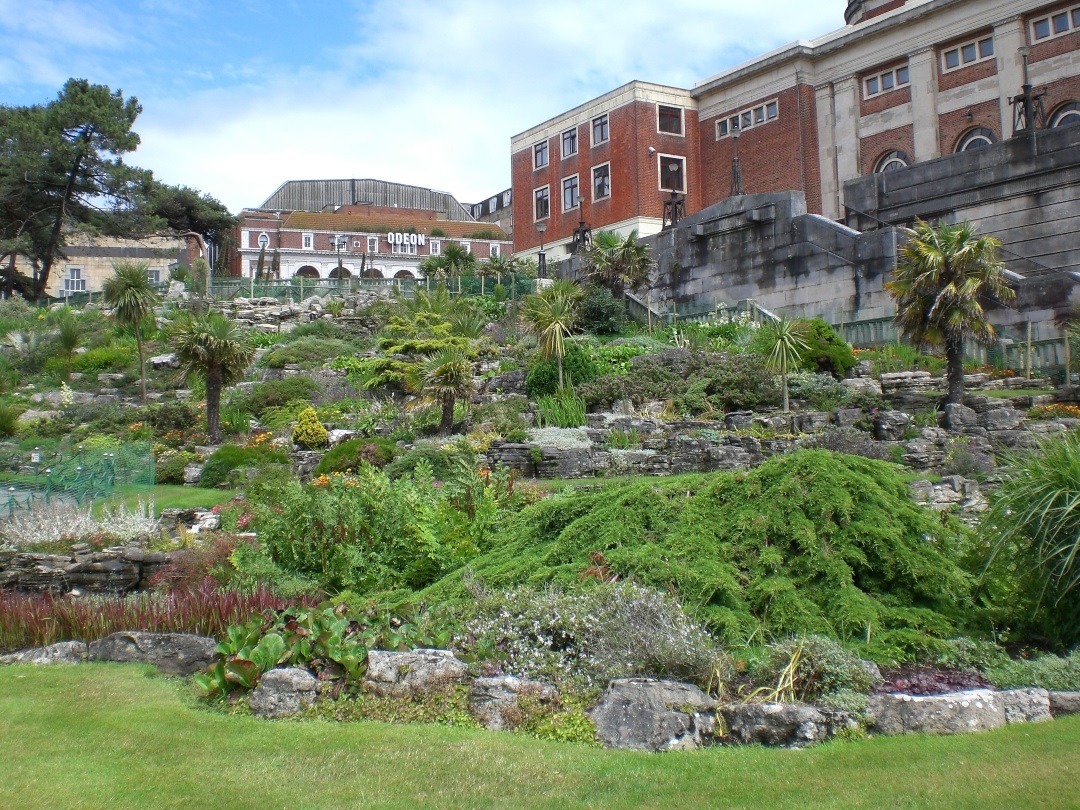 Lower gardens shot of the rockery in Bournemouth