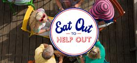 Eat out to Help out logo over customers eating at a restaurant in Bournemouth