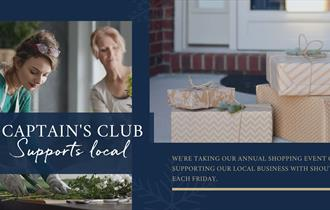 Blue background with two images, on the left two women cutting plants and on the right some wrapped presents. text over the top reads Captain's Club S