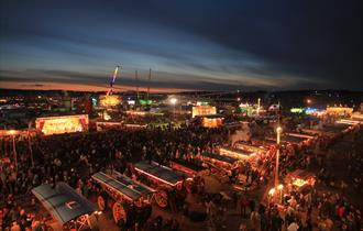 The Great Dorset Steam Fair National Heritage Show at night.