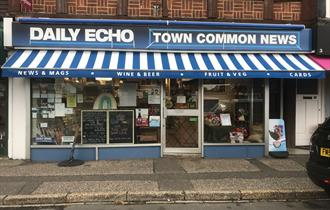 shop front of Town Common News newsagents.