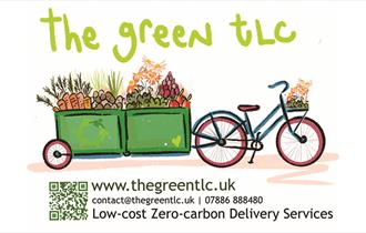 sketch of a bicycle and cart delivering vegetables with the text; The green tlc