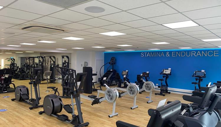 Gym with cross trainers and running machines