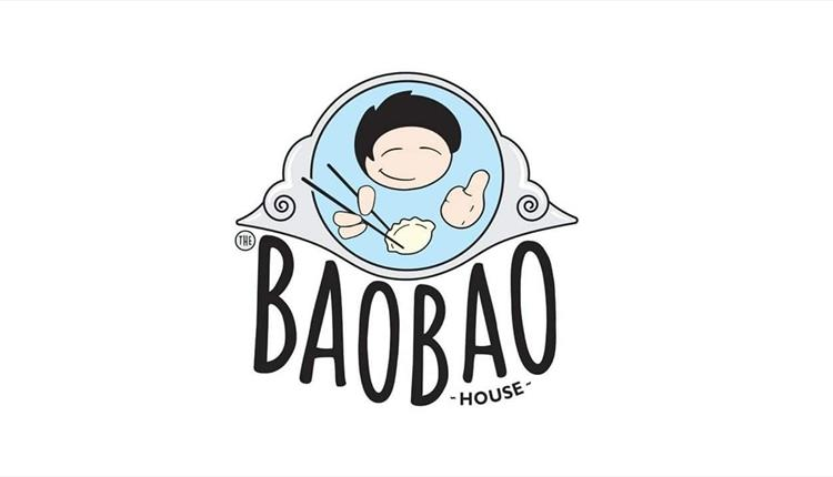 cartoon image of a happy face eating gyoza with the text BaoBao house underneath