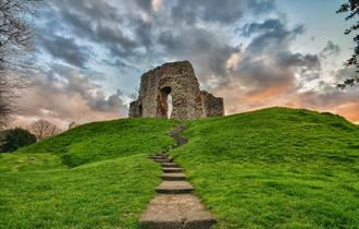 The Castle Ruins photographed with low angle during a sunset.