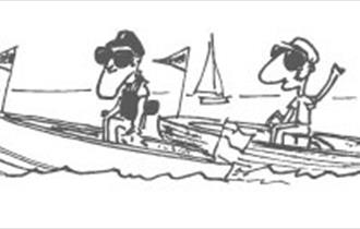 Cartoon of two people on motor boats.