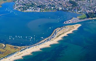 Aerial photo of Mudeford Sandspit facing North East.