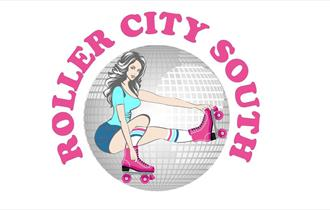 Roller City South logo of a woman in pink skates.