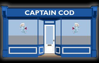 cartoon shop front of captain cod.