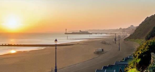 Bournemouth Beach and Pier with a beautiful sunset