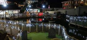Smugglers Cove mini golf course all lit up in Christmas lights for the festive seasons