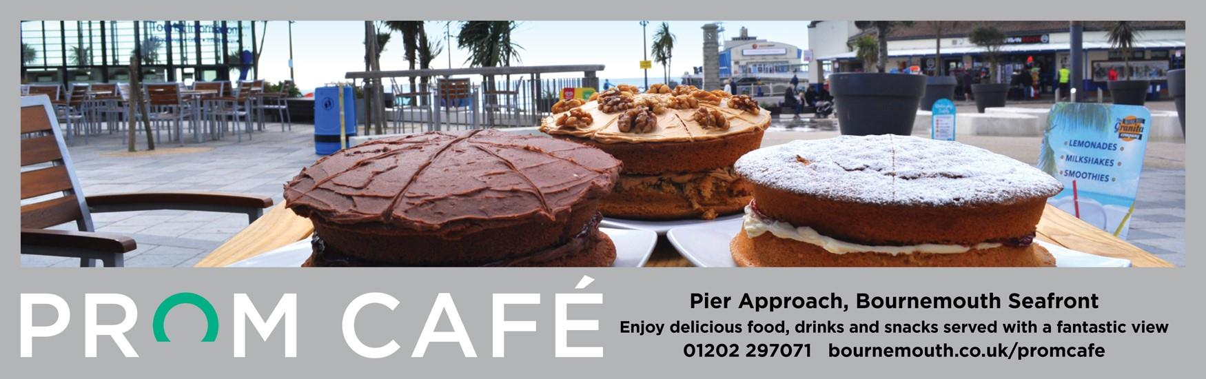 Selection of cakes with Bournemouth pier behind. Contact information is 01202 297071 and bournemouth.co.uk/promcafe