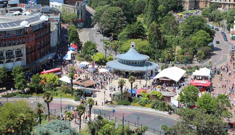 Birds eye view over Bournemouth Square