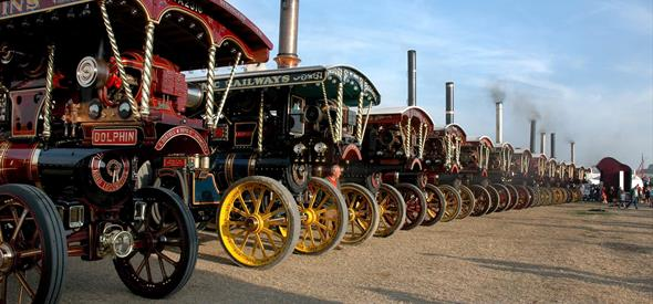 Row of vintage steam trains