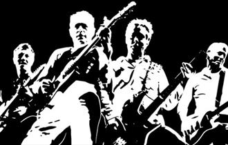Black and white silhouette of the band.