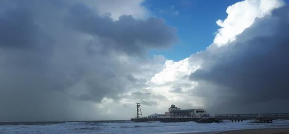 Blue sky and Bournemouth pier