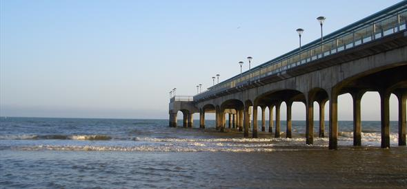 Boscombe pier stretching into the sea