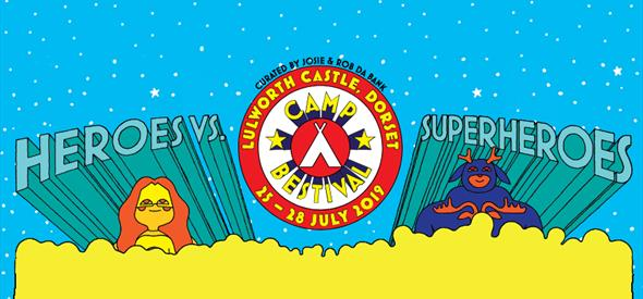 Camp Bestival logo for Heros VS Superheros