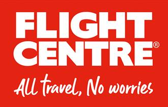 Bournemouths Flight centre stores red logo in bold and handwritten text