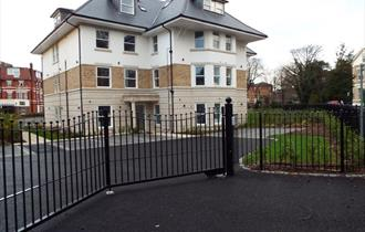 Exterior shot of the Bournemouth holiday apartments from the road