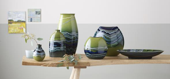 Poole pottery - maya pots green and blue