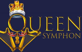 crowned logo on a royal blue background with the text: queen symphonic