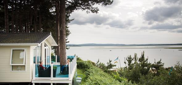 Stunning views of Poole harbour from one of the chalets at Rockley Park