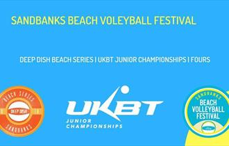 Sandbanks Beach Volleyball logo yellow letters on blue background