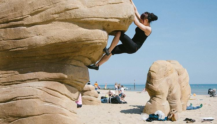Bouldering at Boscombe Beach